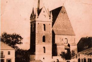Kościół i dzwonnica przed I Wojną Światową.