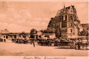Zniszczenia dokonane przez ostrzał artylerii austriackiej podczas I wojny św