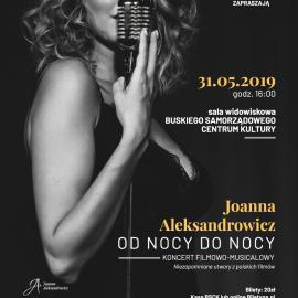 """Zapraszamy na koncert Joanny Aleksandrowicz """"Od nocy do nocy"""""""