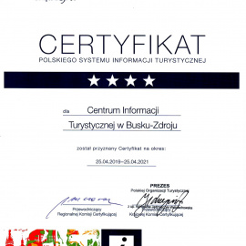 Certyfikat Polskiego Systemu Informacji Turystycznej