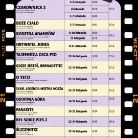 """Terminarz kina """"Zdrój"""" na LISTOPAD 2019"""