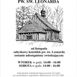 Nowe godziny zwiedzania kościółka pw. św. Leonarda