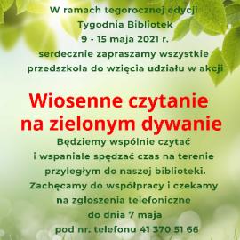 Wiosenne czytanie na zielonym dywanie